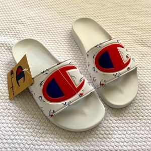 Champion White Slide Sandals NEW Sz 8
